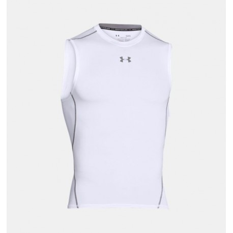 Maillot Compression sans manches HeatGear® Blanc - Under Armour