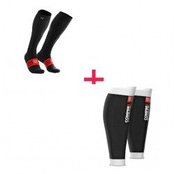 Pack Recup COMPRESSPORT: Manchons R2V2 + Chaussettess FULL SOCKS V2.1 - Noir